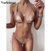 Bikini de piel sintética para mujer, traje de baño femenino Sexy, conjunto de Bikini de dos piezas, bañador, ropa de baño V2346, 2021