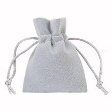 Yumuşak kadife çanta 7x9cm 9x12cm kalın gri İpli torbalar takı hediye paketleme için noel doğum günü partisi düğün Favor tutucu