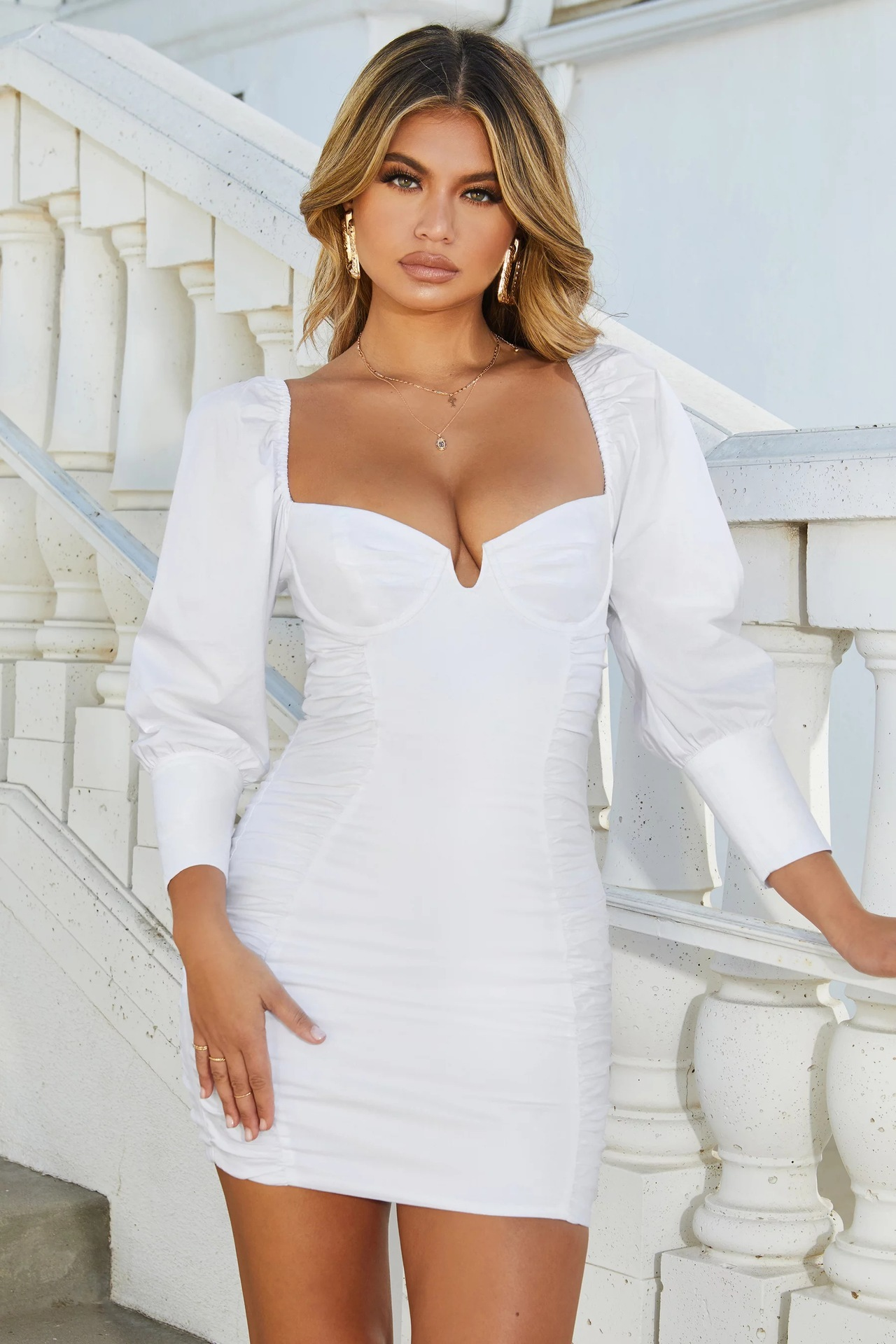BacklakeGirls Solid Color Sexy V Neck Full Sleeve Pleated Cocktail Dress Special Occasion Dresses For Women Robe Cocktail Femme