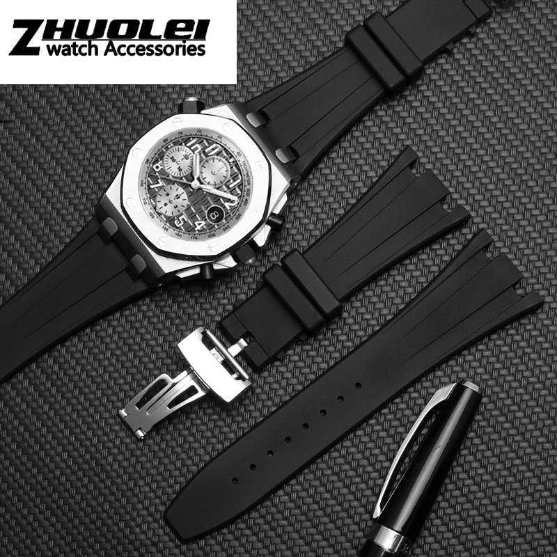 silicone watchband for AP men's wrist watch 26mm 28mm Waterproof rubber watch straps with folding buckle(China)