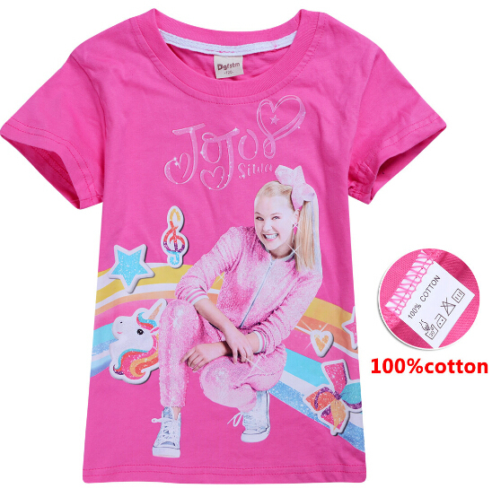 2019 New Hot Sale meninas Unicórnio Dos Desenhos Animados Menina 100% algodão de Manga Curta T-shirt Tshirt para Menina jojo siwa roupa dos miúdos top tee