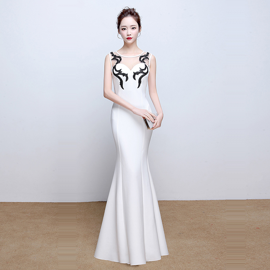 O-neck Sleeveless Evening Dresses For Women Robe De Soiree Floor Length Crystal Elegant Mermaid Evening Dress Formal Gown C224