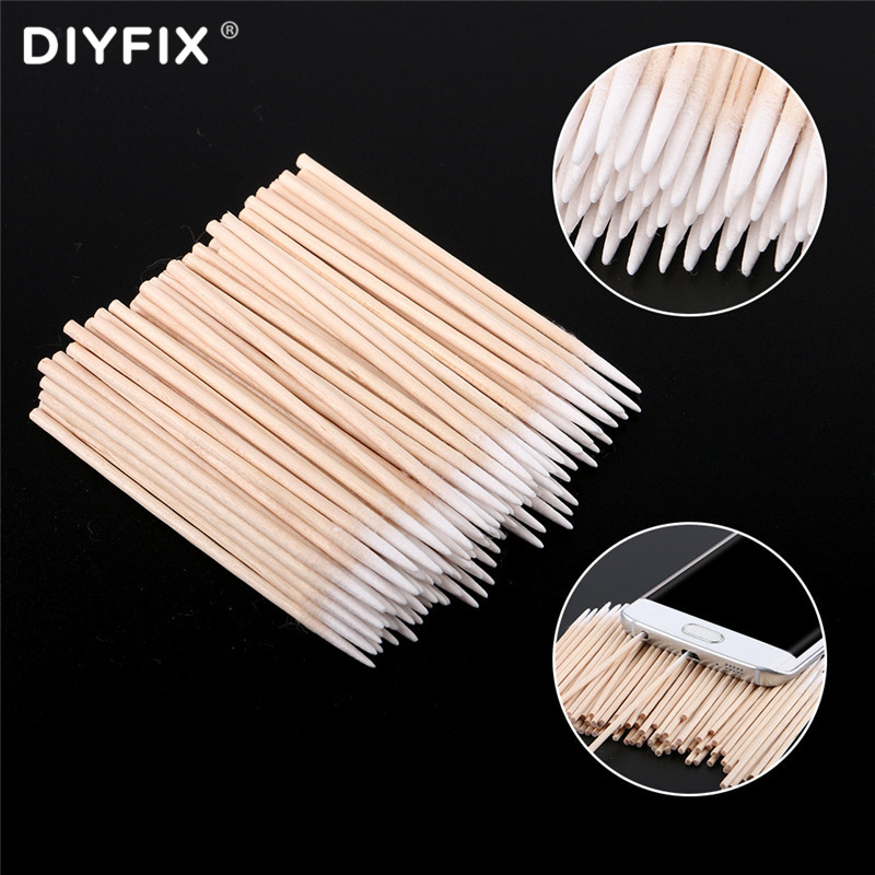 DIYFIX 100PCS/Lot Singal Head Cotton Swab Cleaning Tools For Samsung IPhone Huawei Phone Charging Port Headphone Repair Tool