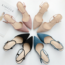 Shoes Woman 2020 Square Hight Heels Pointed Toe Solid Flock Pumps Female Casual Sandals Ankle Strap Sexy Wedding Shoes for Women