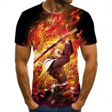 Koszulka 3D Demon Slayer kolumna koszulki mężczyźni kobiety dzieci z krótkim rękawem fajne koszulki moda w stylu Casual, letnia chłopiec dziewczyna dzieci Streetwear