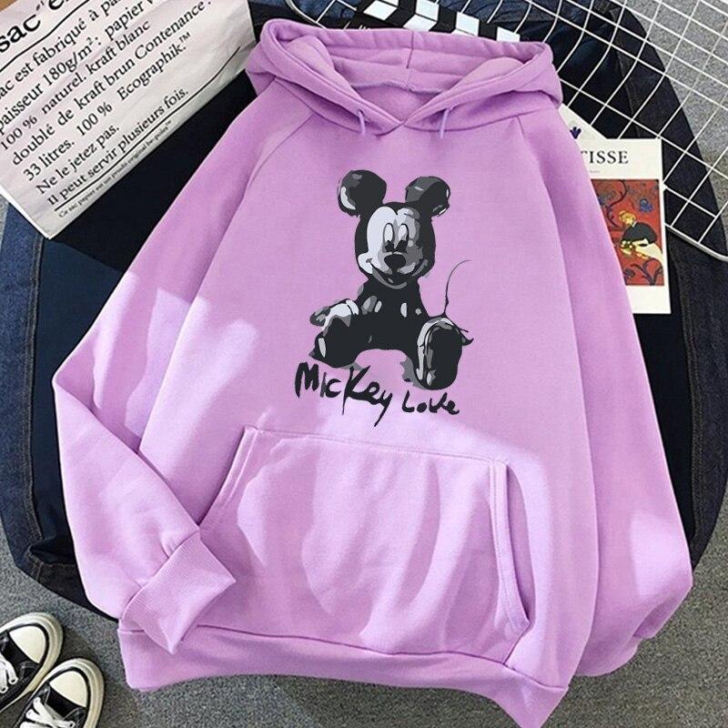 Disney 2021cartoon print sweatshirt women Funny hip hop Mickey Mouse print autumn and winter fashion Harajuku style hoodie women 10