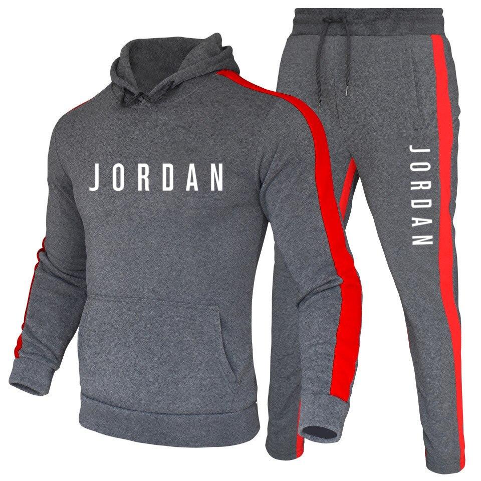 Gym set men Black Hoodies Multicolor Sets Fashion 2020 Autumn Brand Casual Tracksuit Sports Two Piece Patchwork Hoodie Male Suit