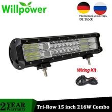 Forza di volontà 15 pollici 216W Offroad LED Bar Combo Fascio LED Auto Luci di Lavoro 15000LMs CE Rohs 4x4 camion di Guida ATV UTV 12V 24V