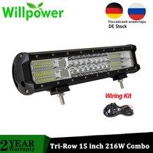 Willpower 15 inch 216W Offroad LED Bar Combo Beam LED Car Work Lights 15000LMs CE Rohs 4x4 Truck Driving ATV UTV 12V 24V