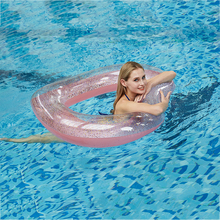 цены на 2019 new brand Inflatable Swimming Ring for Pool Float Mattress Heart-shaped Sequin Thicken PVC Pool Floating Ring Seat Toys  в интернет-магазинах
