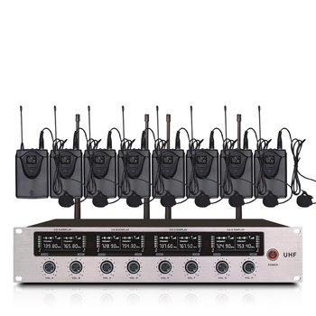Professional wireless microphone system 8-channel lavalier microphone for school lecture church stage performance microphone