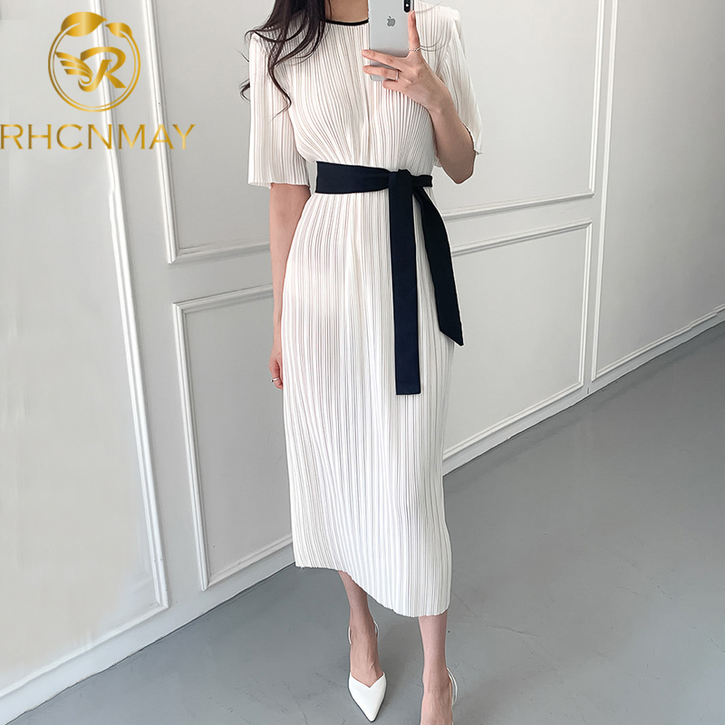 Korean Chic Women Dress Office Ladies Casual Pleated Short Sleeve Dresses Bandage Lacing Bow OL Vestidos Femme Elegante