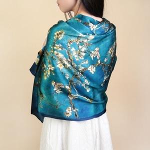 Van Gogh Oil Painting Silk Scarf Women Luxury Brand Apricot Floral Print Hijab Bandana Foulard Femme Shawl Soft Bufanda Mujer