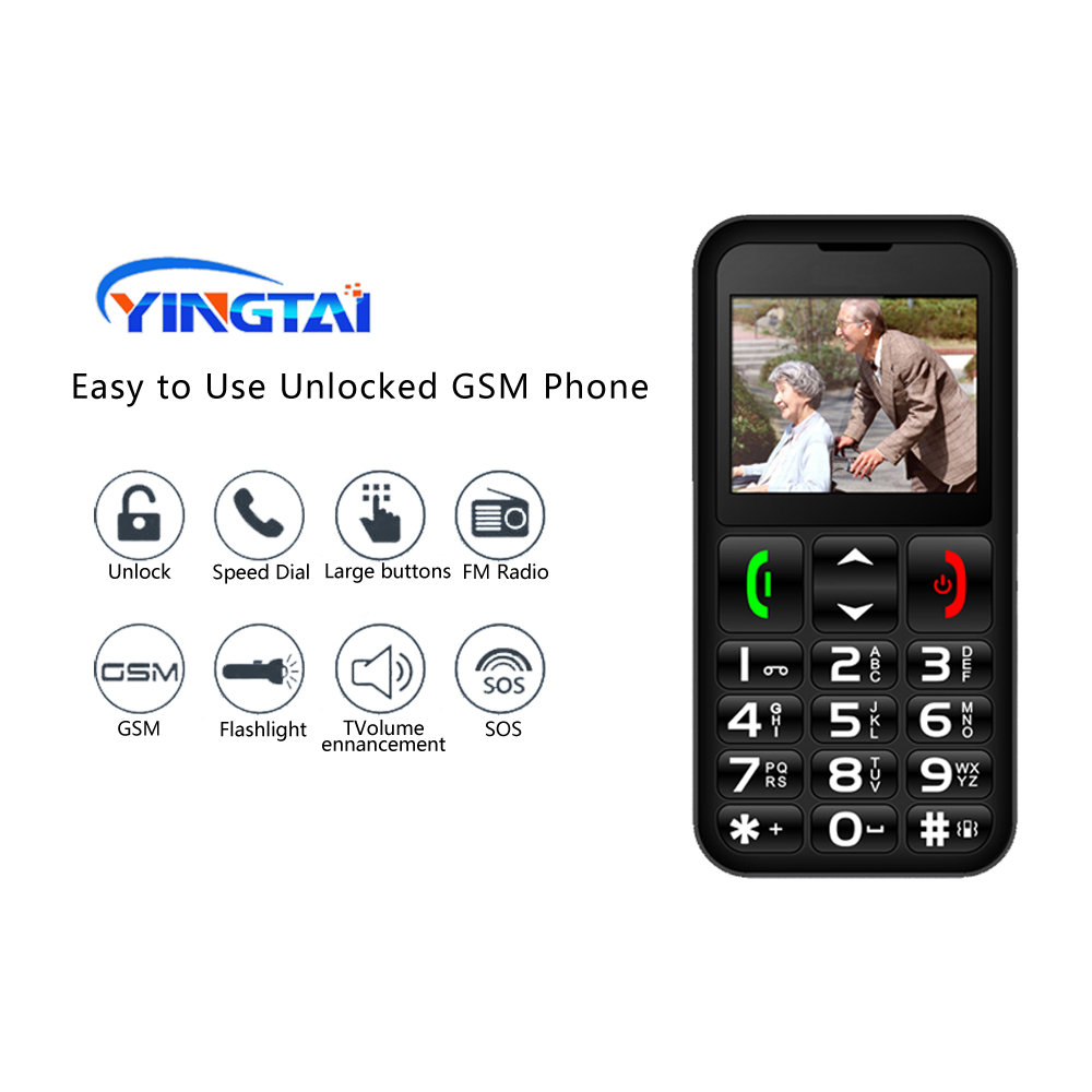YINGTAI Mobile Phone Russian Keyboard 2.2inch FM GSM Dual SIM Louder Speaker Feature Elderly Phone SOS Button Senior Cellphone