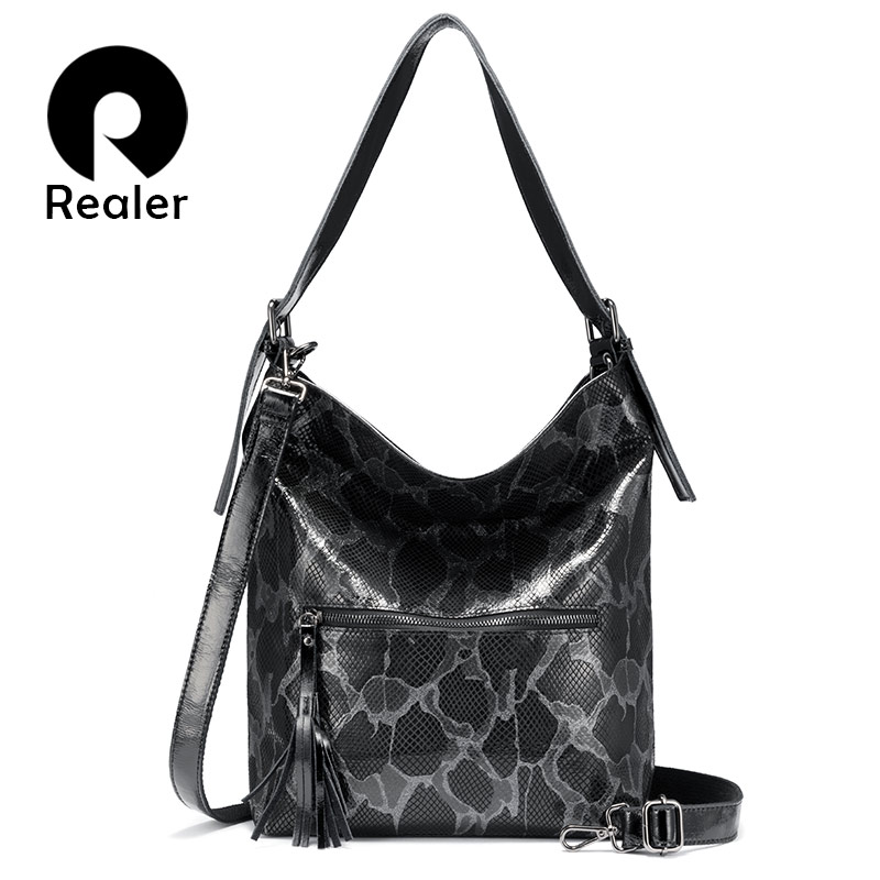 Realer Genuine Leather Handbags Women Shoulder Bags Fashion For Ladies Hobos Big Capacity Tote Bags Female Luxury Women Bag 2019