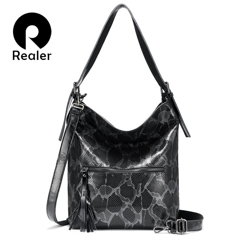 Realer Genuine Leather Handbags Women Shoulder Bags Fashion For Ladies Hobos Big Capacity Tote Bags Female Luxury Women Bag 2019