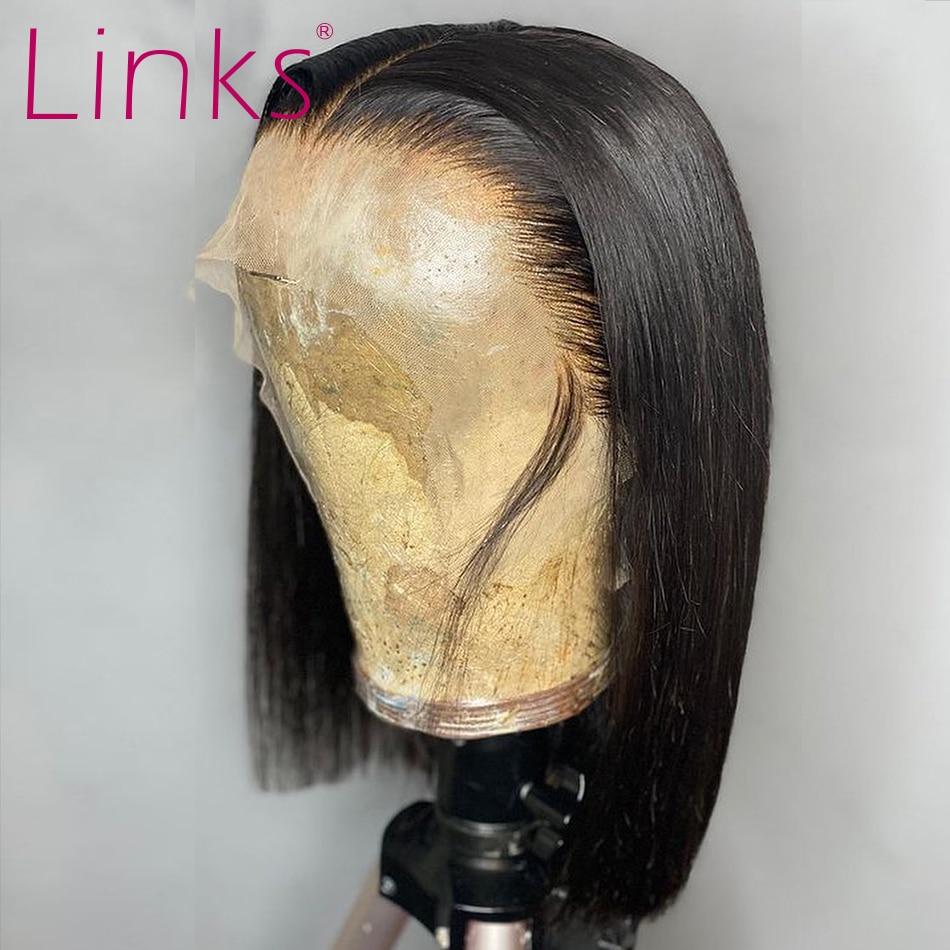 Link 13x4 peruca de cabelo humano frontal, curta 6- 16 Polegada cabelo brasileiro reto com cabelo do bebê perucas frontal