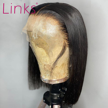 Enlaces, pelucas de cabello humano Frontal de encaje corto 13x4 de 6 a 16 pulgadas, peluca recta con corte Bob brasileño, peluca Frontal de pelo de bebé pre-arrancada