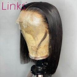 Perruque Lace Front Wig Bob brésilienne naturelle lisse-link | Cheveux courts lisses, 13x4, 6- 16 pouces, pre-plucked, avec Baby Hair