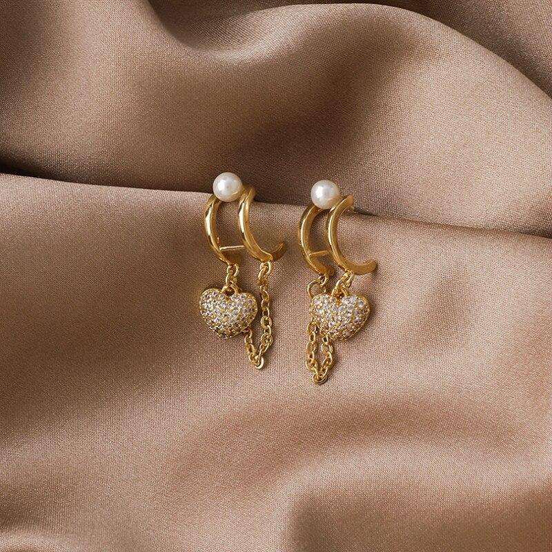 2020 New Arrival Korean Trendy Geometric Crystal Love Chain Tassel Stud Earrings For Women Fashion Jewelry Gifts