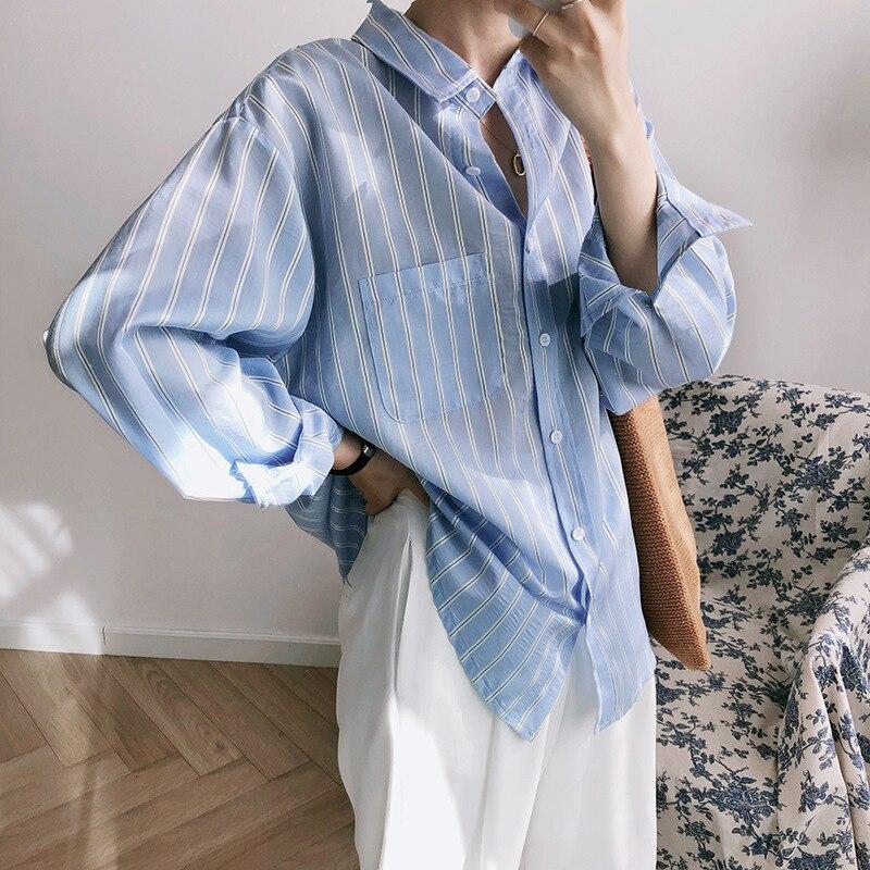 Mooirue Spring 2019 Femme Korean Blouse Stripe Long Bf Long Loose Stripes Plaid Blouse Feminino Korean Cardigan