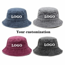 Cotton Hat Bucket-Hat Shade-Basin Washed Custom Summer Wholesale Unisex DIY Solid Picture