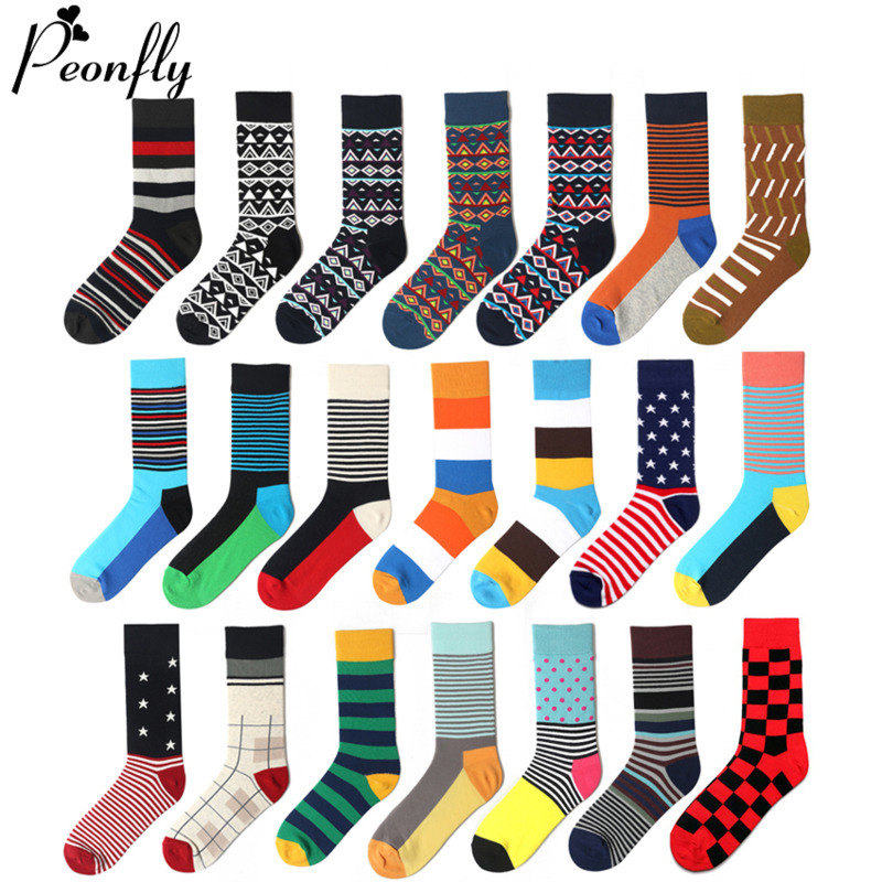 PEONFLY 1 Pair Men Dress Socks Cotton Colorful Striped Plaid Printed Comfort Happy Socks Skate Funny Geometry Dot Wedding Socks
