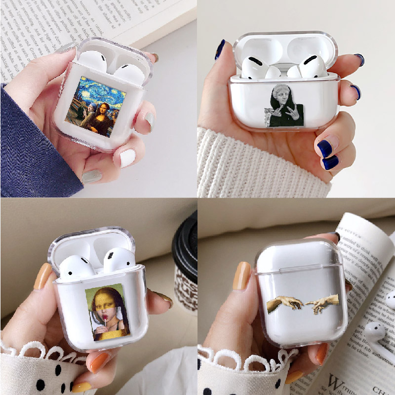 Van Gogh Mona Lisa Art Earphone Case For Apple iPhone Charging Box For AirPods Pro Hard Transparent Protective Cover Accessories