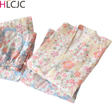 Sakura Print Women Pajamas Set Japanese Kimonos Pijama Mujer
