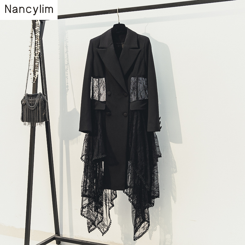 Black Blazer Coat Women 2019 New Spring Autumn Korean Slim Sexy Lace Stitching Mesh Irregular Long Suit Blazers Lady Windbreaker