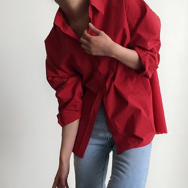 Vintage Single-breasted Solid Women Blouse 5
