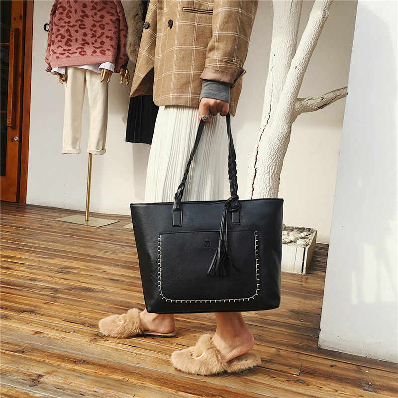 Bolsas femininas do vintage conjunto de topo-lidar com grande capacidade feminina borla bolsa moda bolsa de ombro senhoras saco de couro do plutônio alexa