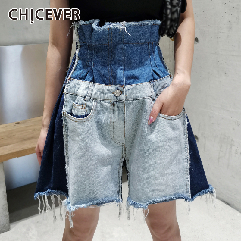 CHICEVER Asymmetric Short For Women High Waist Patchwork Denim Hit Color Tunic Pockets Casual Shorts Female 2020 Summer New Tide 1