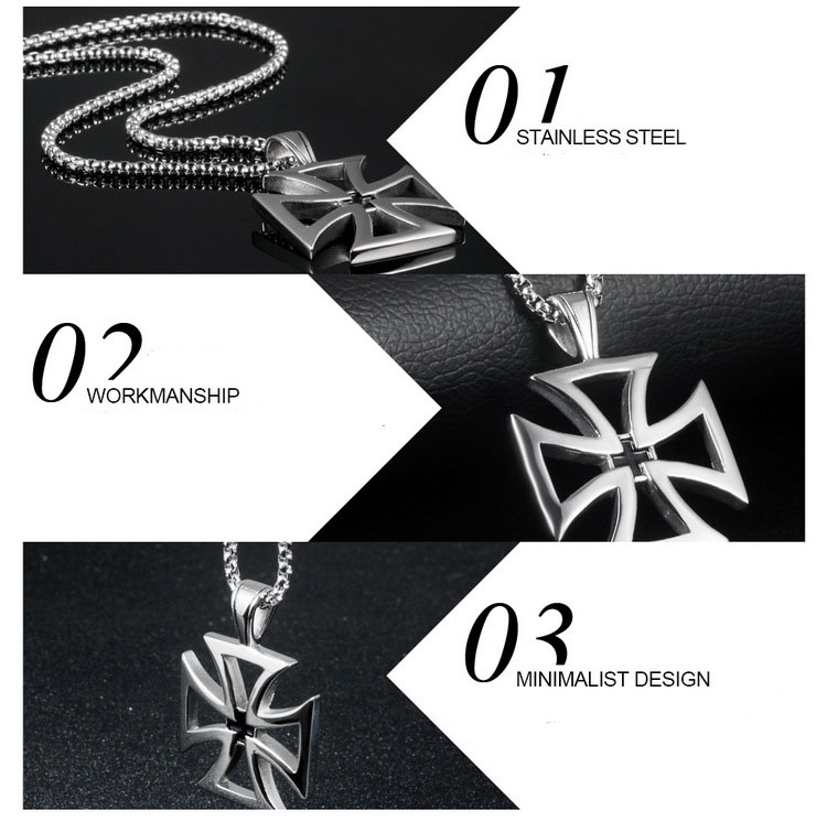 Jewelry Necklace Vintage Knights Templar Iron Cross Pendant Necklace For Men Cross Jewelry Christmas Party Gift