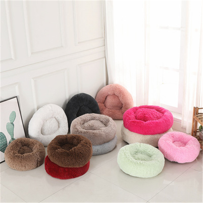 2020 Round <font><b>Cat</b></font> <font><b>Bed</b></font> <font><b>House</b></font> Soft Long Plush Best Pet Dog <font><b>Bed</b></font> For Dogs Basket Pet Products Cushion Pet <font><b>Bed</b></font> Mat <font><b>Cat</b></font> <font><b>House</b></font> DROPSHIP image