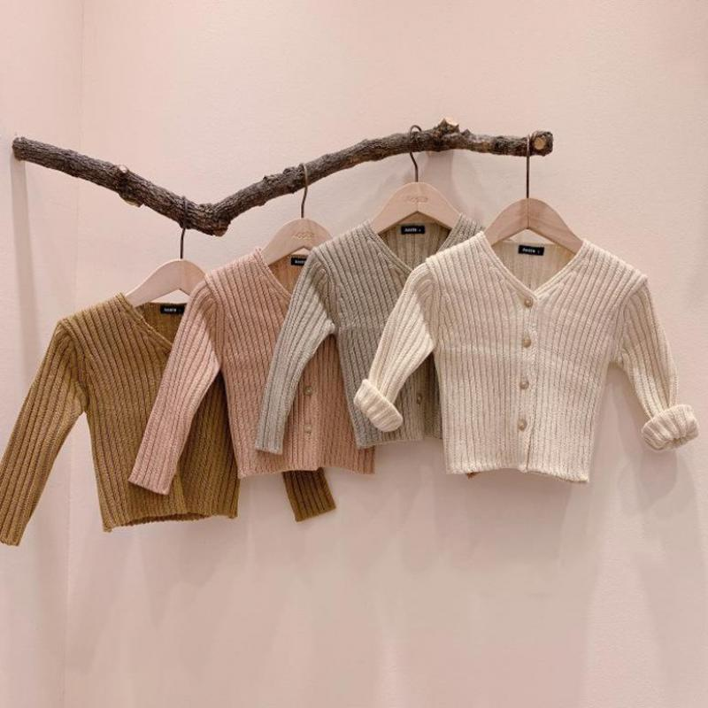 Spring autumn New Baby Girl Sweater Single Breast Baby Knitwear V Neck Baby Boys Long Sleeve Sweater Toddler Baby Knit Cardigan