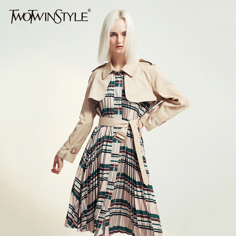 TWOTWINSTYLE Patchwork Plaid Women's Windbreaker Lapel Collar Long Sleeve High Waist With Sashes Coat Female Autumn Fashion 2020