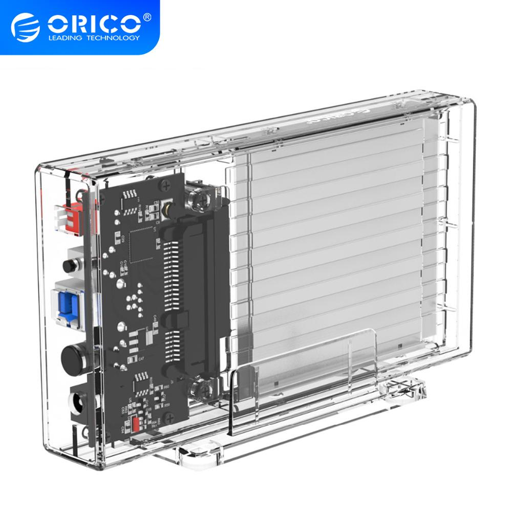 ORICO 2 Bay 2.5'' HDD Case With Raid Function SATA To USB 3.0 Transparent Hard Drive Box Support UASP For 7-9.5 Mm HDD SSD 6TB