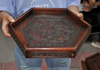 wedding decoration 14 China Boxwood wood Ancient Feng Shui Dragon phoenix Tray Pallets Dish plate