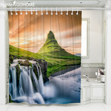 Waterfall Shower Curtains 3D Mountain River Landscape Waterproof Shower Bathroom Curtain Boho Bath Curtain Mildewproof Durable unique mandala mildewproof shower curtain