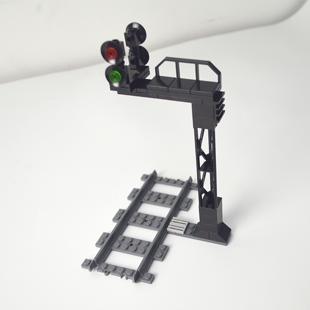 City The Tunnel Signal Light Compatible Leduo Train Track Accessories Models Kits Bricks Traffic Light Toys For Children