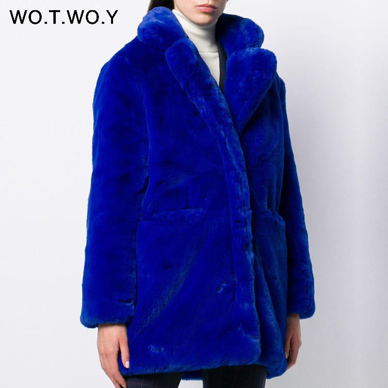 WOTWOY Faux Fur Knitted Women Coat Autumn Winter 2019 Turn Down Collar Straight Long Female Jackets High Street Thick Women Tops