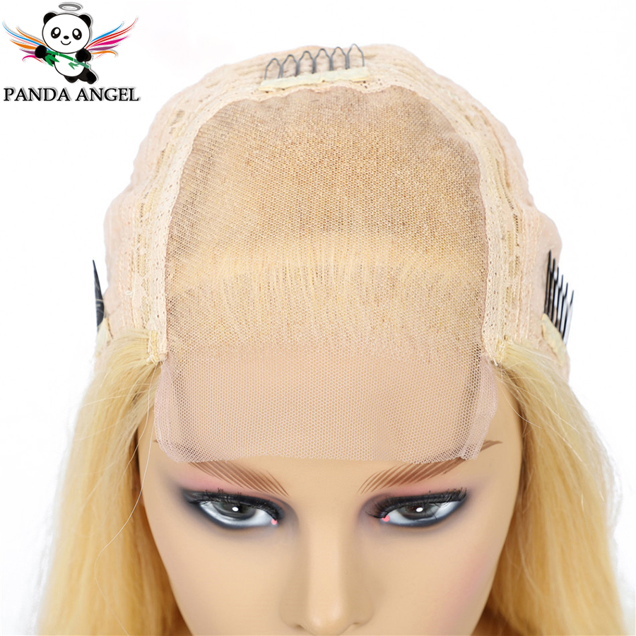 H80ad8c572269443188e306e42a7e6091v Panda 4x4 Honey Blonde Lace Wigs #613 Brazilian Hair Ombre Straight Lace Closure Wig 150% Density Blonde Human Hair Wigs Remy