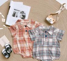 baby 2020 summer romper Baby boy handsome gentleman Plaid infant clothes baby outerwear cheap COTTON O-Neck Pullover Rompers Baby Girls Short 20050201 Fits true to size take your normal size