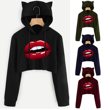 Winter Autumn Pullovers Big lips Print Hoodies Women Loose Long Sleeve Plus Size Oversized  Hooded Sweatshirts Cute Casual 2020