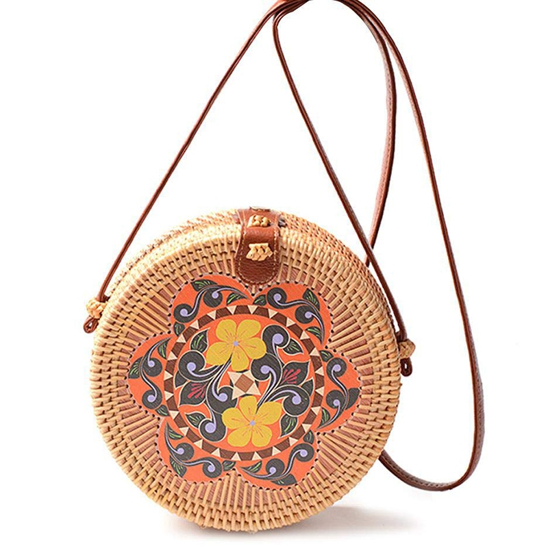 Handwoven Round Rattan Bag With Beautiful Print Handmade Beach Crossbody Bag Fashion Shoulder Leather Strap Bali Purse For Women