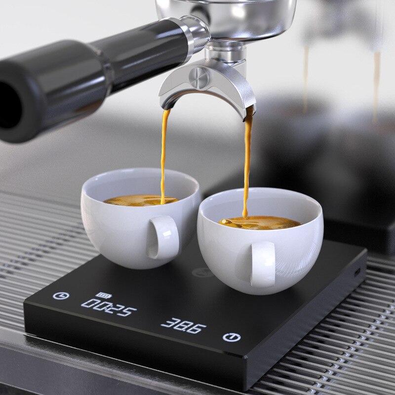 לבן/שחור בית קפה במשקל טפטוף קפה בקנה מידה עם טיימר נייד אלקטרוני דיגיטלי מטבח בקנה מידה דיוק גבוה LCD בקנה מידה