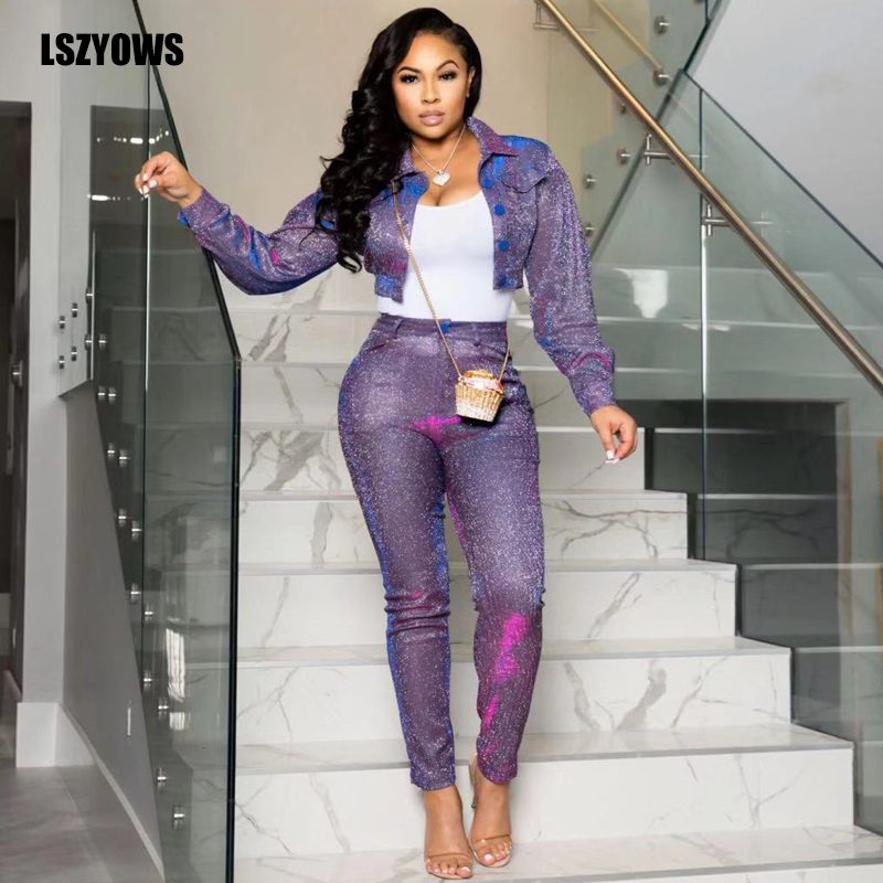 Shining Purple Two Piece Sets Tracksuit Women Casual Long Sleeve Autumn Jacket Tops And Pencil Pants 2 Piece Outfits Sweat Suits