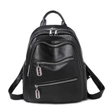 Genuine Leather Vintage Women Backpack Elegant Black Daily Holiday Knapsack Casual Travel Bags Girl's Schoolbag Travel New C1178(China)