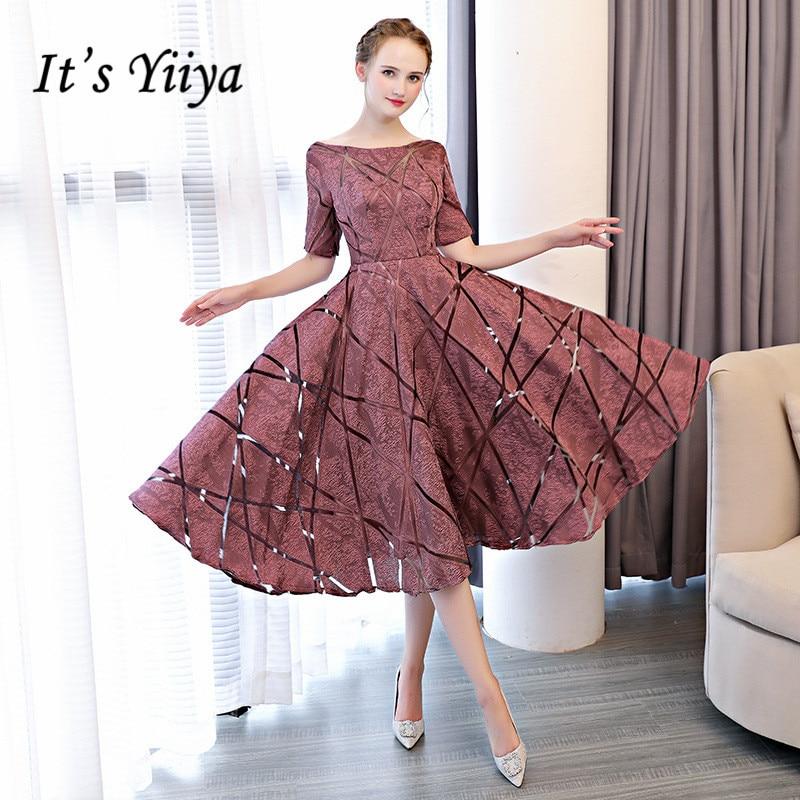 It's YiiYa Luxury O-Neck Half Sleeve Embroidery Zipper Cocktail Dresses A-line Tea Length Formal Dress LX465